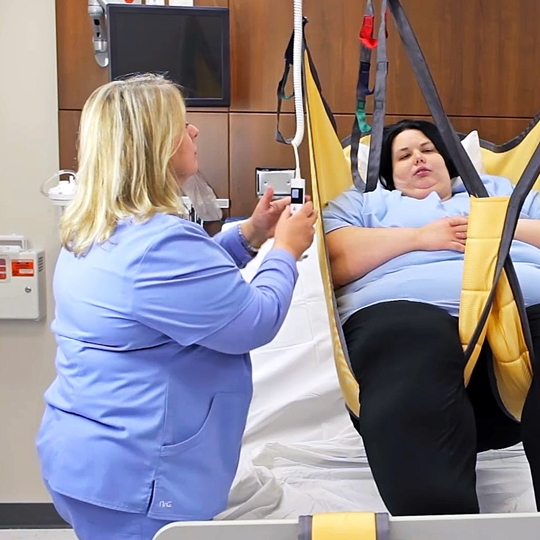 Basic High Bariatric sling instruction - Lifting from bed to chair