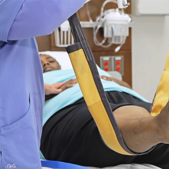 Leg sling learning video - Using the Leg sling / Limp lifter for moving and handling patient extremities