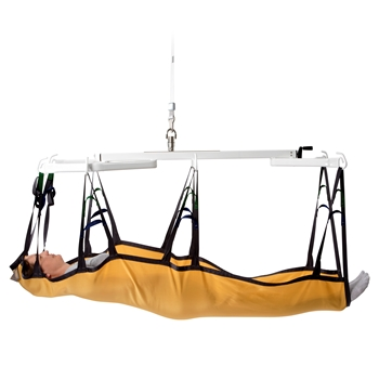 The Horizontal lifting support with stepped weight adjustment is a lifting tool used with a horizontal lifting sling and a ceiling hoist or mobile lifter moving people who have to be kept in horizontal positions.