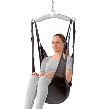 The Guldmann Sit-On sling is designed for lifting and moving users who need to stay sitting on the sling.