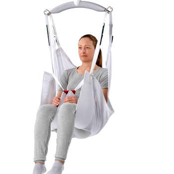 The Guldmann Disposable Comfort High sling is designed for lifting and moving people who have little or no motor function in their head and upper body.