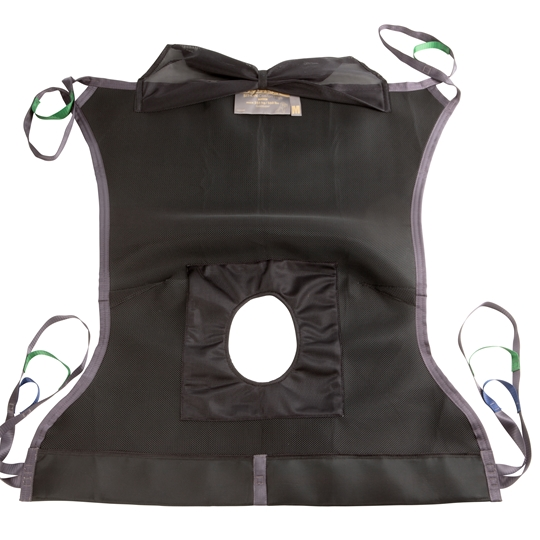 The Guldmann Sit-On Comfort High Hygiene sling is designed with an open bottom section to help facilitate toilet visits and other hygiene procedures.