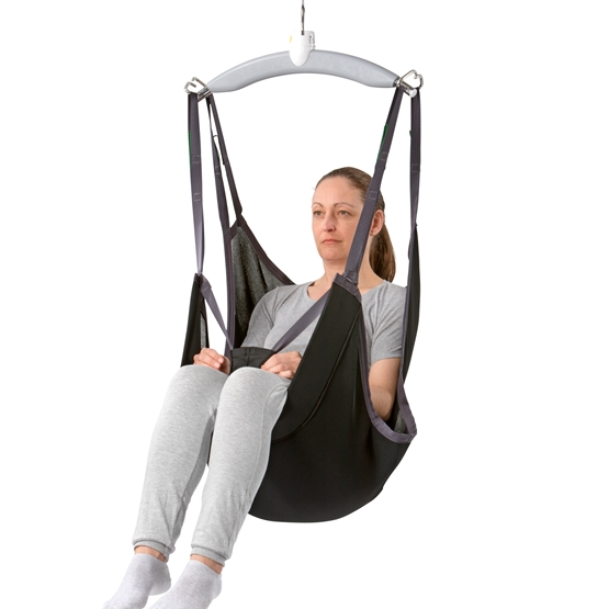 Sit On Comfort sling is designed for lifting and moving users who need to stay sitting on the sling. Ideal for specially designed wheelchairs, or users who need to be lifted frequently.