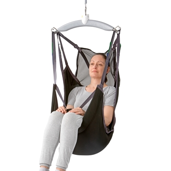 The Guldmann Sit-On Comfort High is a sling designed for lifting and moving users who need to stay sitting on the sling.