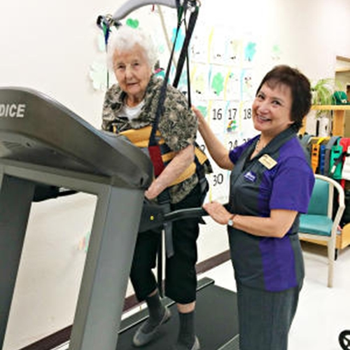Using a ceiling hoist in conjunction with rehabilitation exercises boosts confidence and safety for user and therapist alike.