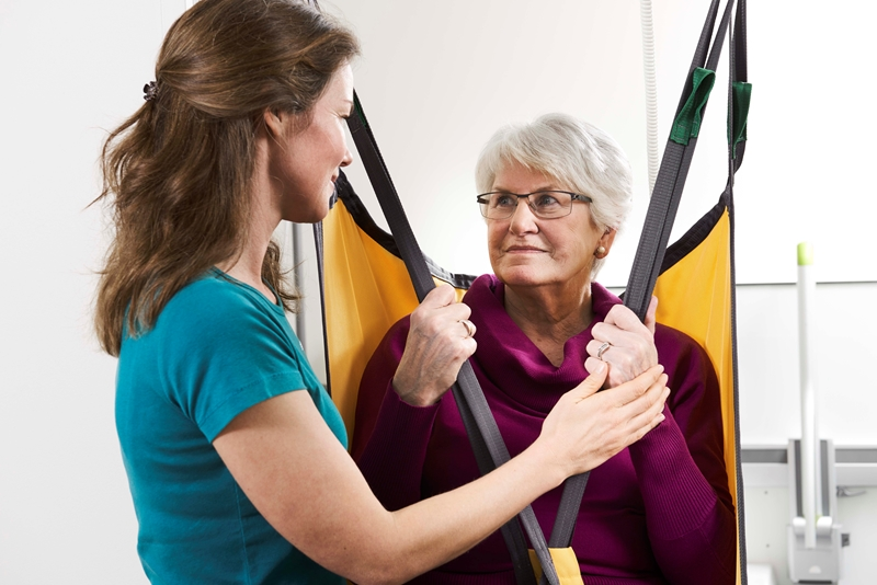 Using a ceiling hoist or a free-standing lifter can facilitate everyday procedures, moves, etc. at the care home, to the benefit of residents and staff alike.