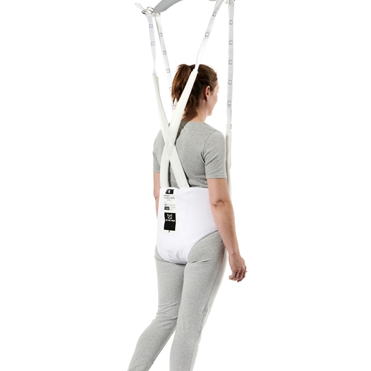 The Disposable Gait Trainer is a single-patient walking sling for people with sufficient leg strength to stand upright, but who have difficulty balancing.