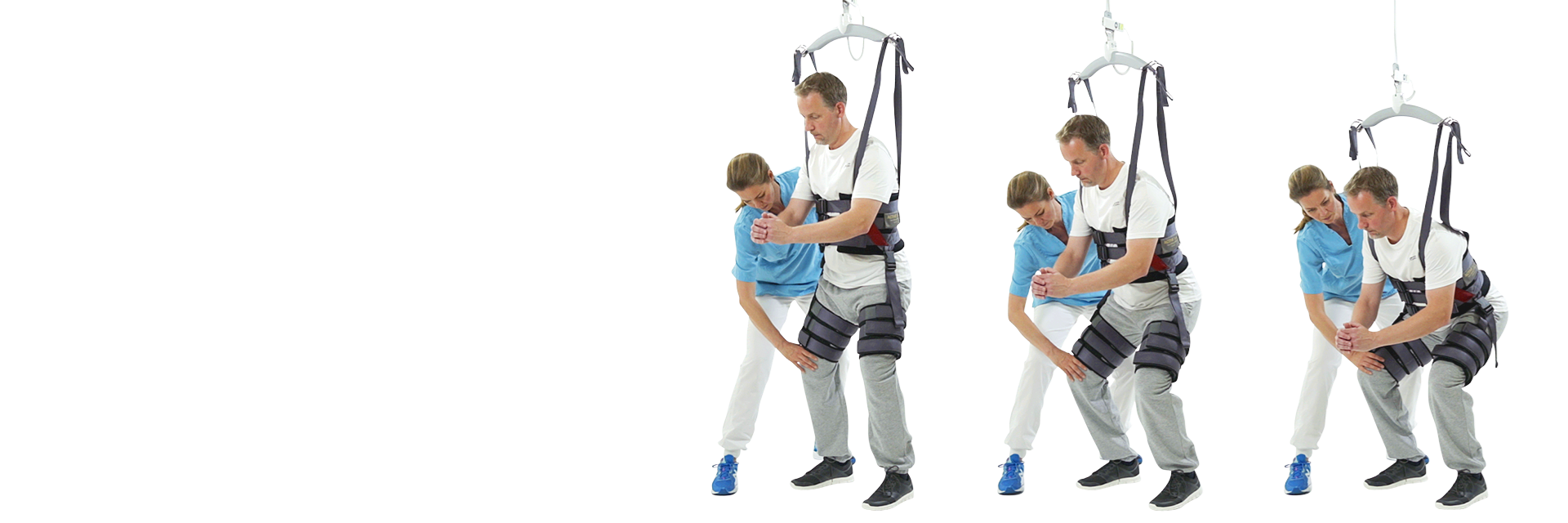 Ceiling hoist with dynamic body weight support - provides safe and assisted rehabilitation exercises with dynamic body weight support.