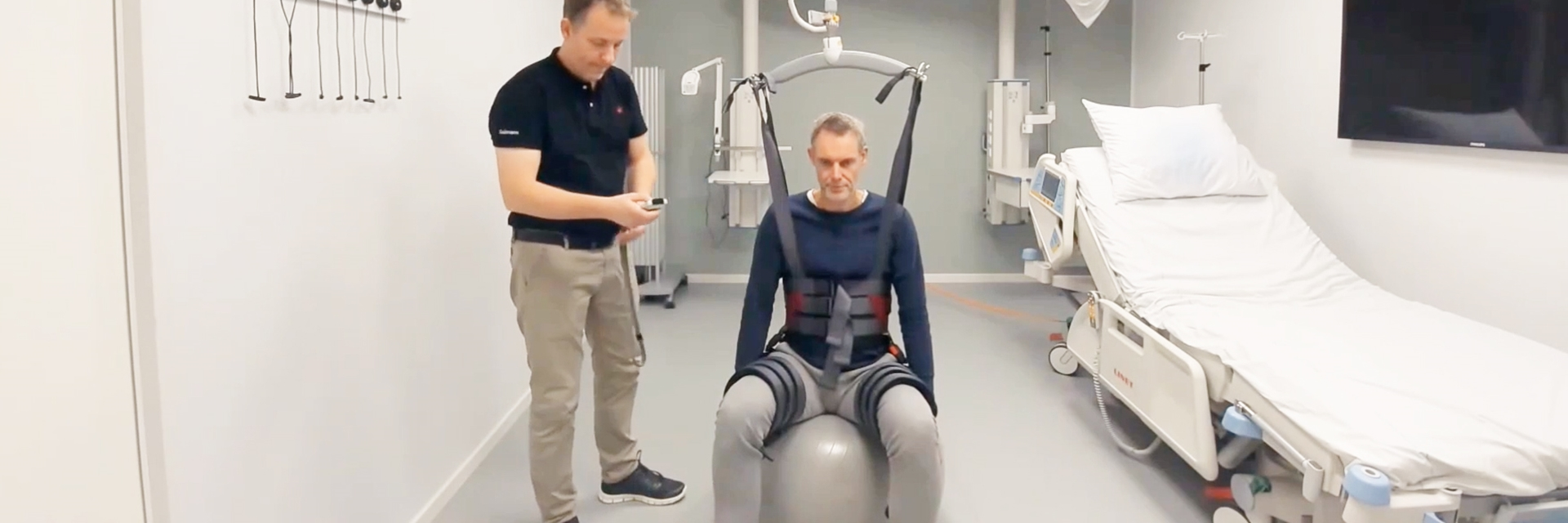 Trainer module - Positioning lock - Balance on therapy ball